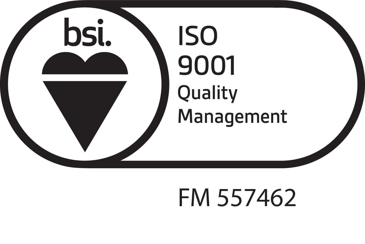 ISO9001 logo with Contract Production's accreditation number, FM 557462
